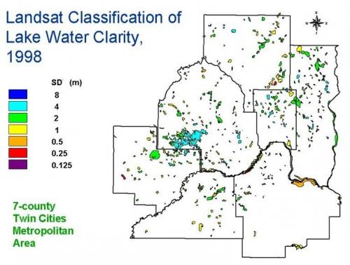 Landsat classification of lake water clarity, 1998.