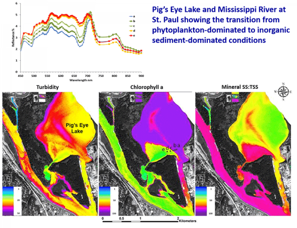 Pig's Eye Lake and Mississippi River at St. Paul showing transition from phytoplankton to inorganic sediment.